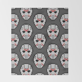 Knitted Jason hockey mask pattern Throw Blanket