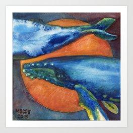 Humpbacks Orbiting Mars Art Print