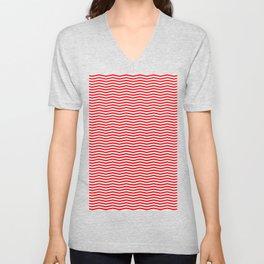 Red and White Christmas Chevron Stripes Unisex V-Neck