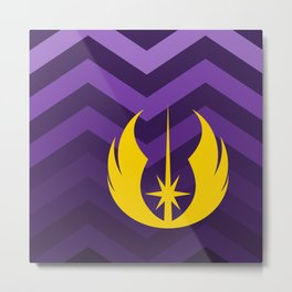 Jedi Order in Gold On Purple Ombre Chevrons Metal Print