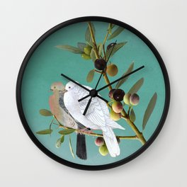 Doves in Olive Tree Wall Clock