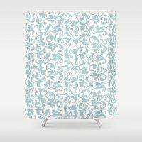 renaissance Shower Curtains featuring Renaissance Celadon by Antique Images