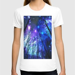 black trees purple blue space copyright protected T-shirt
