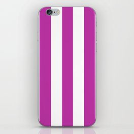 Byzantine fuchsia - solid color - white vertical lines pattern iPhone Skin