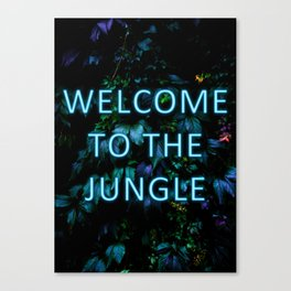 Welcome to the Jungle - Neon Typography Canvas Print