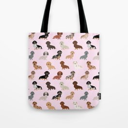 Dachshund dog breed pet pattern doxie coats dapple merle red black and tan Tote Bag