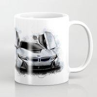 bmw Mugs featuring BMW i8 by an.artwrok