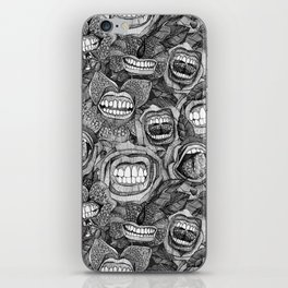 BITE ME roses and orchids BLACK WHITE iPhone Skin