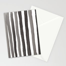 Grey Stripe Abstract Painting Stationery Cards