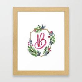 Jungle Gold Monogram Crest B Framed Art Print