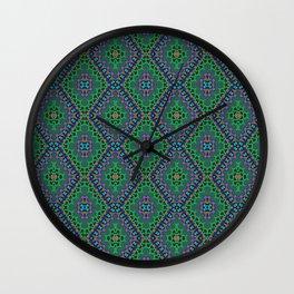 New Delhi #3  Floral Diamonds in Green and Purple Wall Clock