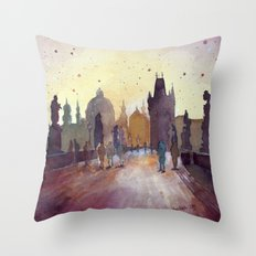 Prague, watercolor explorations in violet  Throw Pillow