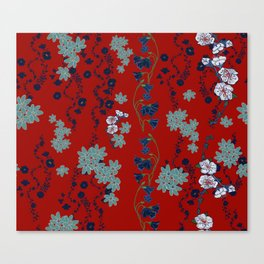 Maggies Floral Garden in Red Canvas Print