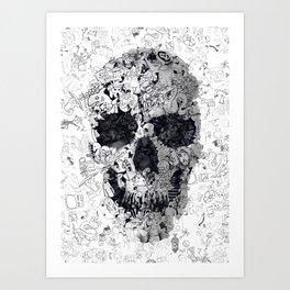 Doodle Skull BW Art Print
