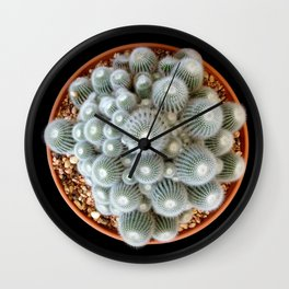 Cacti White Green Wall Clock