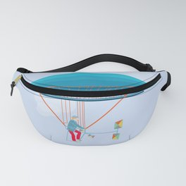 Skycycle Flying Machine Air Balloon Victorian Aircraft Fanny Pack