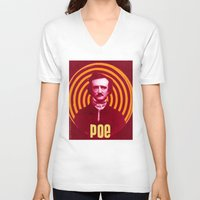 edgar allen poe V-neck T-shirts featuring POE by Jon F. Allen