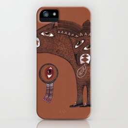 friendly monster says hello to the surreal eye iPhone Case