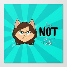 I am NOT cute (Head with text) Canvas Print