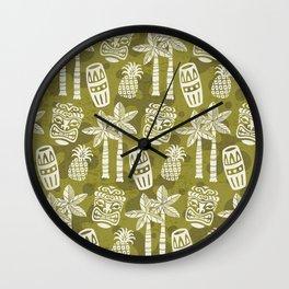 Retro Mid Century Modern Tiki Pattern 523 Olive Green Wall Clock