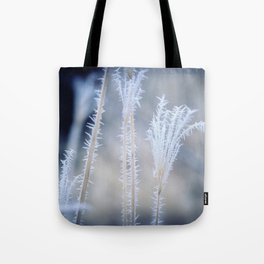Cold Hoarfrost on the weeds in the winter Tote Bag