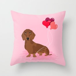 Dachshund dog breed heart balloons valentines day gift for pure breed lovers Throw Pillow