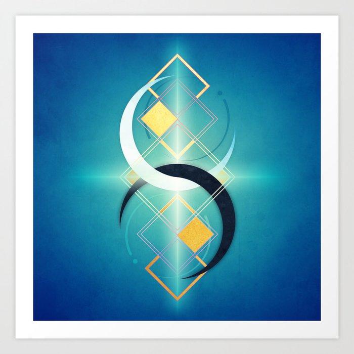 Crescent Moon Double :: Floating Geometry Art Print