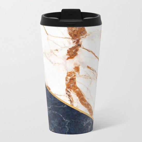 Classy Elegant White Blue Gold Marble Metal Travel Mug