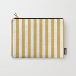 Large Mustard Yellow and White Cabana Tent Stripe Carry-All Pouch
