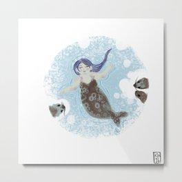 Ice Mermaid Metal Print