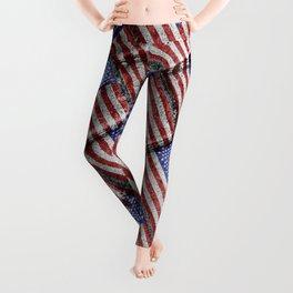 Usa Flag Grunge Pattern Leggings