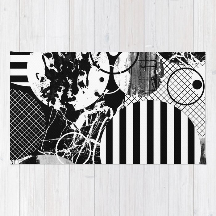 Black And White Choas Mutli Patterned Multi Textured Abstract Rug