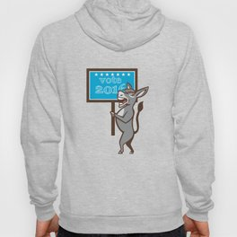 Vote 2016 Democrat Donkey Mascot Cartoon Hoody