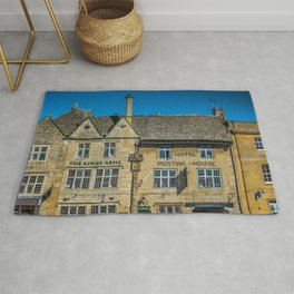 The Kings Arms Tow Square Cotswolds English Countryside  Rug