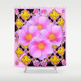 Asymmetrical Black-Pink Wild Rose Floral Pattern Shower Curtain