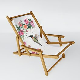 Hummingbird and Flowers Watercolor Animals Sling Chair