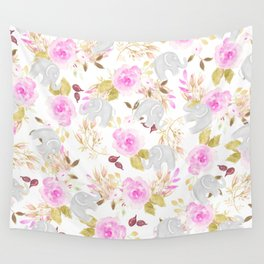 Modern pink gray watercolor hand painted floral elephant Wall Tapestry