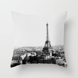 Paris City Sky // Eiffel Tower City Landscape Photography Shot from the top of Champs Elysees France Throw Pillow