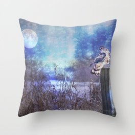 The Northern Harrier and The Moon Throw Pillow