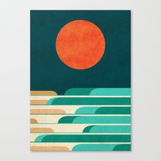Chasing wave under the red moon Canvas Print
