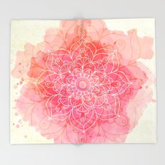 Pink Watercolor Mandala #lifestyle #society6 Throw Blanket
