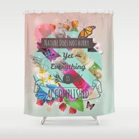 shih tzu Shower Curtains featuring Nature Lao Tzu quote by James Thornton