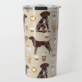 German Shorthair Pointer dog breed custom pet portrait coffee lover pet friendly gifts Travel Mug