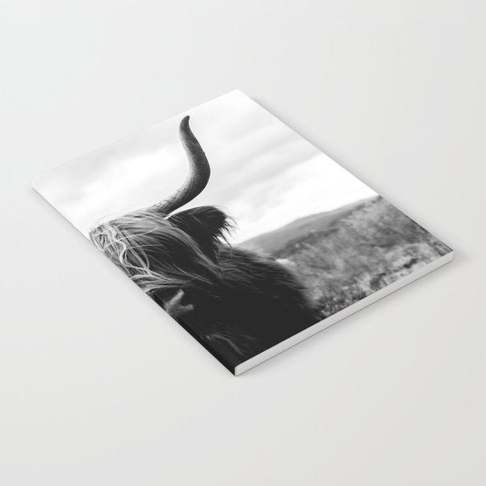Scottish Highland Cattle Black and White Animal Notebook