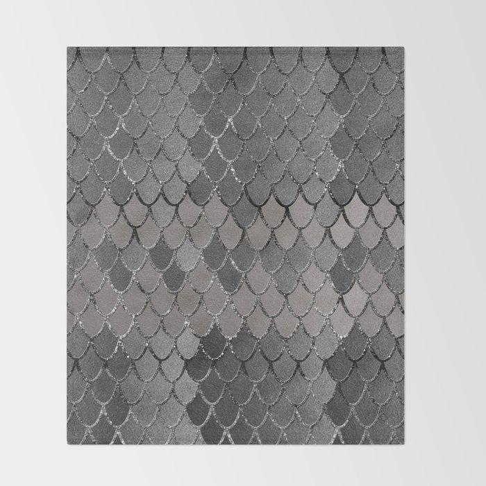 Mermaid Scales Silver Gray Glam #1 #shiny #decor #art #society6 Throw Blanket