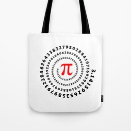 Pi, π, spiral science mathematics math irrational number Tote Bag