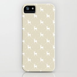 Deer pattern retro colors Christmas Day beige background iPhone Case