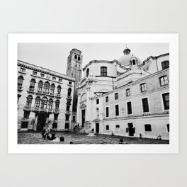 Venice, Italy, Film Photo, Analog, Black and White Art Print