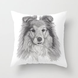 Shetland sheepdog bw Throw Pillow