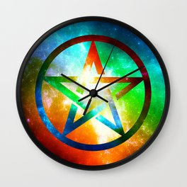 Galaxy Pentagram Pentacle Design - Spiritual Space Artwork Wall Clock